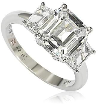 LeVian Suzy Jewelry Sterling Silver Emerald-Cut 3-Stone CZ Bridal Ring
