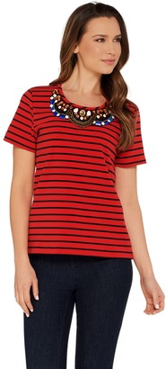 Brooke Shields Timeless BROOKE SHIELDS Timeless Short Sleeve Striped Knit Embellished Tee