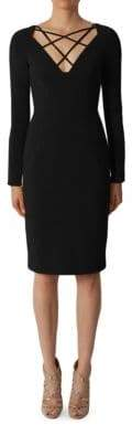 Black Halo Masca Long Sleeve Sheath Dress