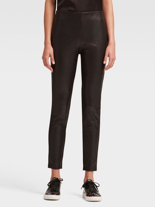 4d7f16441ecf3c DKNY Ponte Faux Leather-front Legging