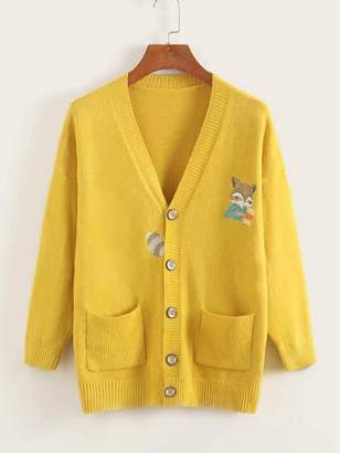 Shein Button Front Cat Embroidery Pocket Cardigan