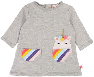 Billieblush Long-Sleeve Dress w/ Striped Unicorn Pockets, Size 12M-3