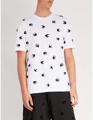 McQ Swallow-embroidered cotton-blend T-shirt