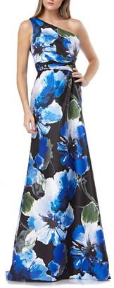 Carmen Marc Valvo One-Shoulder Mikado Gown