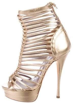 Versace Metallic Leather Cage Sandals