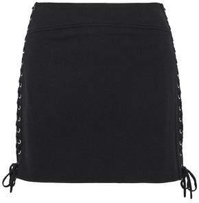 McQ Lace-Up Stretch-Knit Mini Skirt