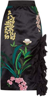 Johanna Ortiz Tropical Embroidered Ruffle Midi Skirt