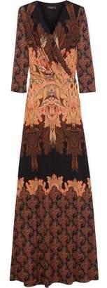 Etro Wrap-Effect Printed Silk-Cady Gown