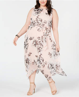 5474bde362 Jessica Howard Plus Size Handkerchief-Hem Midi Dress