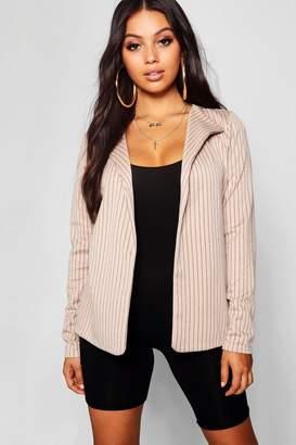 boohoo Petite Pin Stripe Collar Blazer