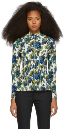 Stella McCartney Off-White Floral Monogram Mock Neck Shirt
