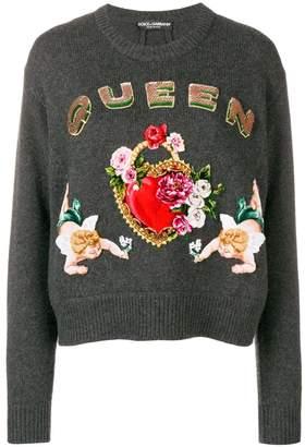 Dolce & Gabbana intarsia knit embellished sweater