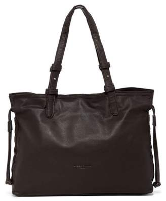 Liebeskind Berlin Durham Wood Leather Stitch Detail Drawstring Satchel Tote