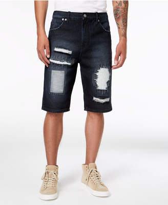 Lrg Men's Straight-Fit Ripped Union Denim Shorts