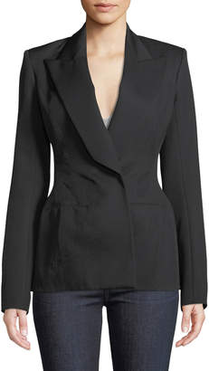 Thierry Mugler Peak-Lapel Wool Twill Suiting Blazer Jacket