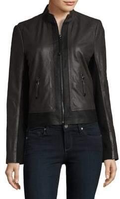 Via Spiga Lightweight Leather Bomber Jacket