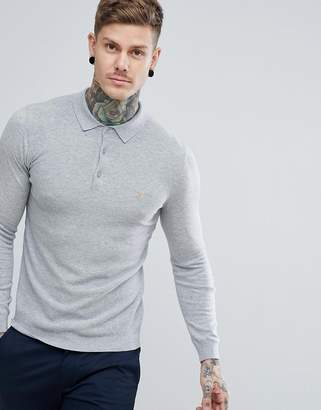 Farah Arndale Slim Fit Long Sleeve Polo in Gray