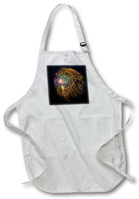 3dRose USA, Colorado, Frisco, Dillon Reservoir. Fireworks display, July 4th. - Medium Length Apron, 22 by 24-inch, With Pouch Pockets
