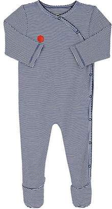 Lisa Perry Infants' Dot-Embroidered Striped Cotton Footed Coverall
