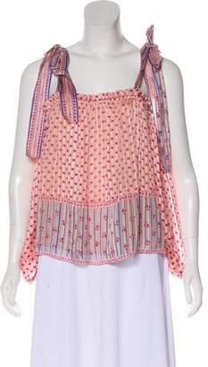 Ulla Johnson Silk Printed Long Sleeve Top w/ Tags