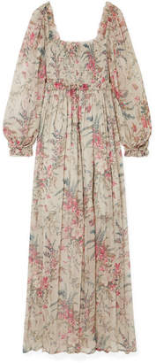 Zimmermann Bayou Shirred Floral-print Silk-crepon Maxi Dress - Light gray