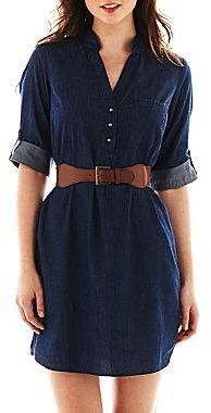 My Michelle Belted Denim Shirtdress