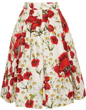 Dolce & Gabbana Pleated Floral-Print Cotton And Silk-Blend Skirt