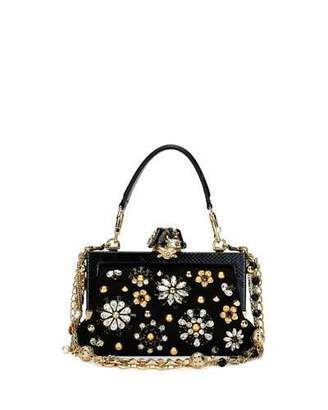 Dolce & Gabbana Vanda Small Jeweled Top-Handle Evening Bag, Black $4,445 thestylecure.com