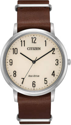 Citizen Eco-Drive Men's Brown Leather Strap Watch 40mm