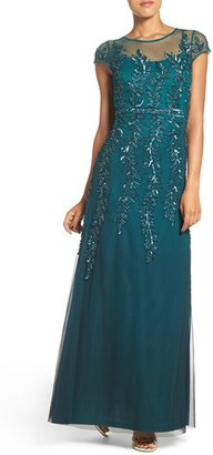 Women's Adrianna Papell Sequin Mesh Fit & Flare Gown $349 thestylecure.com