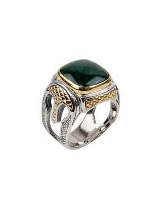 Konstantino Men's Aventurine Sterling Silver Signet Ring with 18k Gold Accents