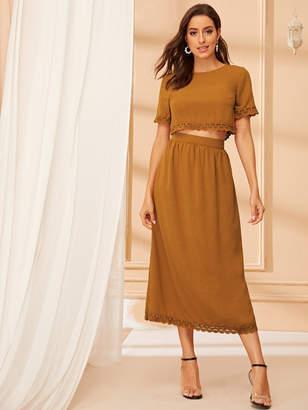 Shein Guipure Lace Trim Top and High Waist Skirt Set
