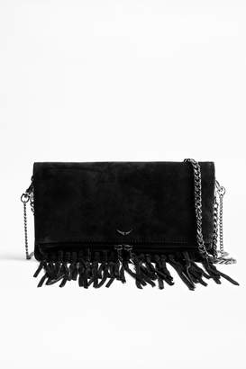 At Orchard Mile Zadig Voltaire Rock Suede Fringe Clutch Bag