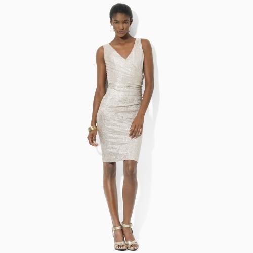 Ralph Lauren Short Metallic Shirred Dress