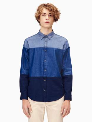 Calvin Klein slim fit colorblock chambray shirt