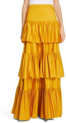 AMUR Mila Stretch Organic Cotton Tiered Maxi Skirt