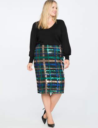 Plaid Sequin Pencil Skirt
