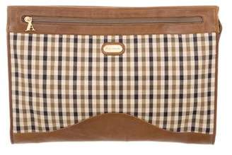 Aquascutum London Leather-Trimmed Plaid Clutch