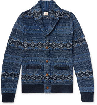 Faherty Indigo Shore Slim-Fit Shawl-Collar Cotton-Blend Jacquard Cardigan