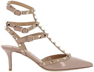 Valentino Garavani Pumps Rockstud Ankle Strap In Smooth Leather And Contrasting Paint