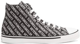 Vetements Logo Print High Top Canvas Trainers - Womens - Black White
