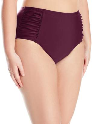 be25bab86d Jessica Simpson Women's Plus-Size Solid Shirred High Waisted Bottom