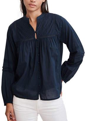 Velvet Yadira Pintuck Voile Button-Up Blouse
