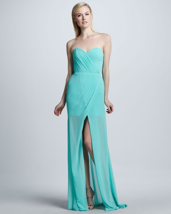 Erin Fetherston Erin by Strapless Gown with Front Slit