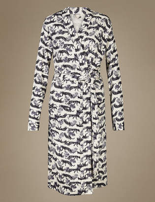 M&S Collection Pure Cotton Tiger Print Waffle Dressing Gown