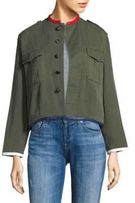 Harvey Faircloth Crop Leather Trim Jacket