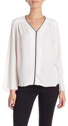 Philosophy Apparel Long Sleeves Piped Blouse (Petite)
