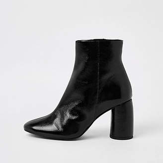 River Island Black shiny leather bubble heel ankle boots