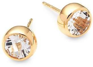 Anzie Women's Classique 14K Yellow Gold & White Topaz Stud Earrings