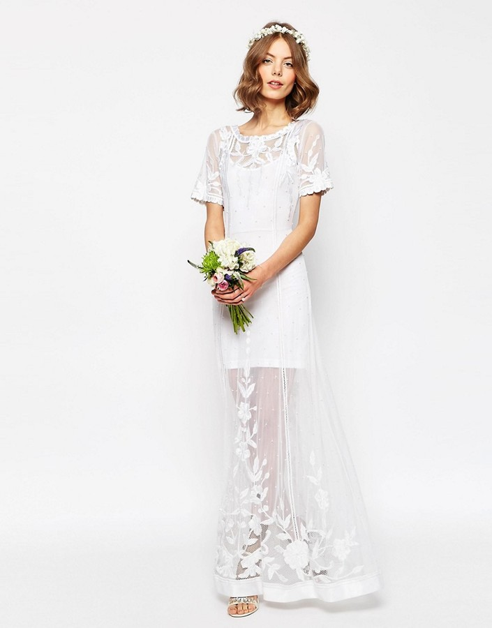 Asos ASOS BRIDAL Delicate Lace And Pearl Maxi Dress
